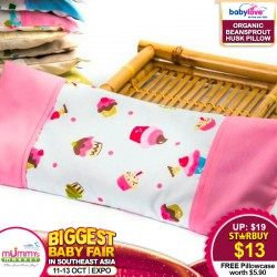 Babylove Baby Organic Beansprout Husk Pillow + FREE Pillowcase (WORTH $5.90!!!)