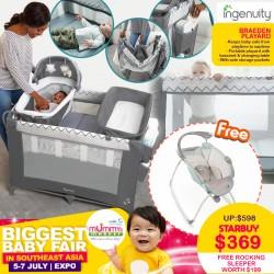 Ingenuity Baby Soothing Sleep Braden Playpen + Free Light Rocking Sleeper