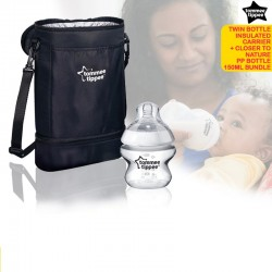 Tommee Tippee Twin Bottle Insulated Carrier +FREE PBA Free 150ml PP Bottle