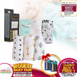 Mimosa Multi-purpose Bamboo Muslin Swaddle Bundle of 2 FREE Tommee Tippee Safety Nappy Pin (2 Packs)