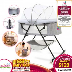 U-Baby U-Smart Portable 2in1 Baby Crib and Rocking Bassinet With Wheels One-Second Fold