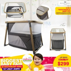 Royal Kiddy London 2-in-1 Nightingale Baby Cot Playpen FREE Mosquito Net + Carry Bag