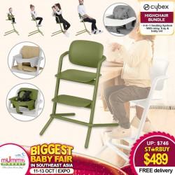 Cybex LEMO 4-in-1 Highchair (Asst) + Baby Set (Asst) + Tray (Asst) + Comfort Inlay (Asst) Bundle FREE Delivery!!