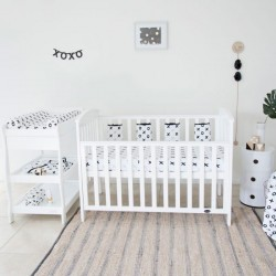 Babyhood Classic Curve Cot 4-in-1 (White) + Mattress