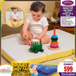 Clevamama ClevaFoam 3-in-1 Sleep,Sit & Play Travel Cot Mattress (96 x 65 x 7cm)