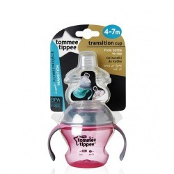 Tommee Tippee Closer to Nature Transition Cup 150ML (PINK / BLUE) + PP Bottle (260ML) Bundle
