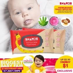 Snapkis Premium Travel Baby Wipes (20 pcs)