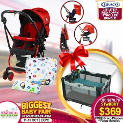 Graco Citilite R Stroller (Red Poppy) + Puku Multi Cushion Seat + Bean Pillow + Free On The Go (Fletcher) Playpen + Anti Dustmite Foam Mattress