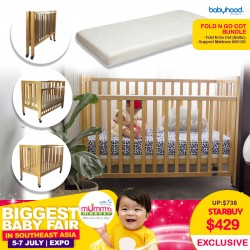 Babyhood FOLD N GO Baby Cot / Playard/ Playpen (BALTIC) + My First Innerspring Mattress Bundle FREE Delivery + Assembly!!