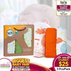 toTs by SmarTrike Ex-Large Bamboo Swaddle Wraps (3pcs Pack) *BUY MORE SAVE MORE!