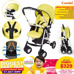 Combi Ubran Walker Lite (Lime Yellow) + FREE 1 Set of Spare Canopy+Seat Cushion+Front Guard Cloth worth $199