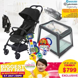 (Essential Baby Travel Bundle)Maxi Cosi Laika Stroller + Cabriofix Carseat + Free 3 Years Warranty + Carseat Installation worth $80! + Ingenuity Travel Simple Playpen + Baby Einstein Musical Discovery Gift Set Toy