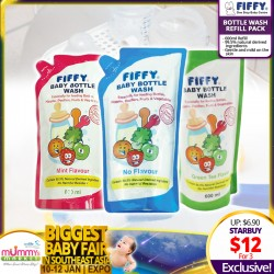 FIFFY Bottle Wash Refill Pack (Mint / Green Tea / No Flavor) 600ml (3 for $12) - Additional Discount with Save More Coupon