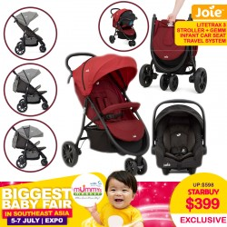 Joie Litetrax 3 Travel System (Stroller + Gemm Infant Carseat)