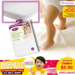 Clevamama Cotton Top Waterproof Cotton Mattress Protector (90 x 190cm / 60 x 120cm / 70 x 140cm) UP TO 80 PERCENT OFF!!