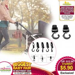 Babytoon Baby Stroller Hook 360 degree rotation - 2 Pack of Multi Purpose Hooks