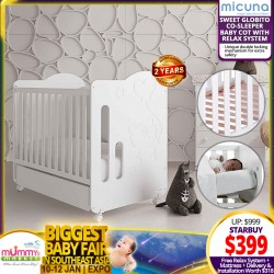 Micuna Sweet Globito Baby Cot with Relax System + Free 4