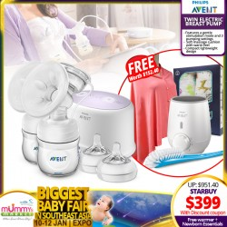 Philips Avent Twin Electric BreastPump Bundle Pack (Bottle Warmer + Swaddle + Nursing Shawl) - Additional Discount with SAVE MORE Coupons