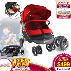 Joovy ScooterX2 Side by Side Double Stroller + Free 1 Year Warranty