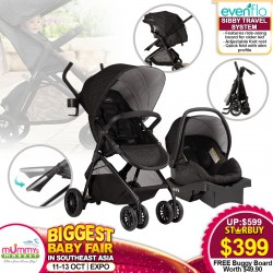Evenflo Sibby Travel System (Full Size Stroller + Infant Carseat + Carseat Base+ Buggy Board)