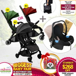 Hamilton R1 Stroller + Zeno Infant Carseat Travel System FREE Carseat Adapter + Okiedog Wildpack Suitcase *FREE $25 M&B VOUCHER with SAVE MORE COUPON!