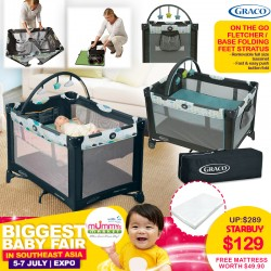 Graco Pack N Play Playpen On The Go (Fletcher/Stratus) + Free 2 inch Anti Dustmite Mattress worth $49.90