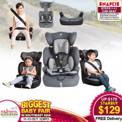 Snapkis Steps 1-11 Carseat (GREY MELANGE / BLACK) FREE Delivery!!