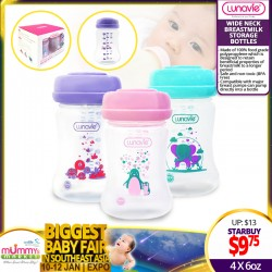 NEW LAUNCH!! Lunavie Wide Neck Breastmilk Storage Bottles (6oz) 4pcs per Pack (Asst Colors) *ADDITIONAL OFF for EARLY BIRD Specials!!