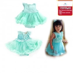 Twokitz Turquoise Lace Fluffy Romper Kids Apparel