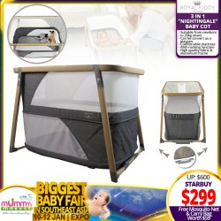 Royal Kiddy London 3-in-1 Nightingale Baby Cot Playpen FREE Mosquito Net + Carry Bag (WORTH $59)