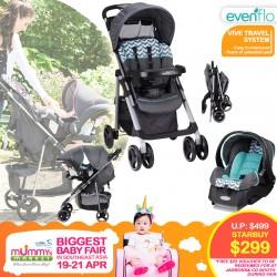 Evenflo Vive Travel System (Full Size Stroller + Infant Carseat + Carseat Base)