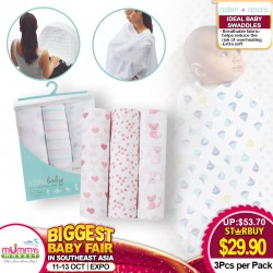 Aden + Anais Ideal baby Swaddle (3pk) Asst Designds Available!!