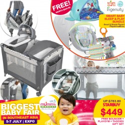Smart Baby Sleep & Play Bundle (Ingenuity Smart & Simple Playpen + Soothe 'N Delight Bouncer + Brightstarts Explore n Go Whale Playgym + Baby's 1st Taggies Gift Set + Cheeky BonBon Playpen Mattress)