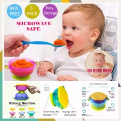 Hogokids Best Suction Baby Bowls with Seal-Easy Lids 3pcs pack ( SAFE BPA FREE )