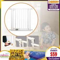 Demby 2 Ways Hands Free Auto Close Metal Safety Gate Fit from 72cm ~ 78cm (Additional Discount for SAVE MORE Coupons)