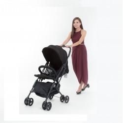 Mimosa Cabin City Stroller (JET SET BLACK) FREE 2 Multi-Purpose Muslin Swaddle