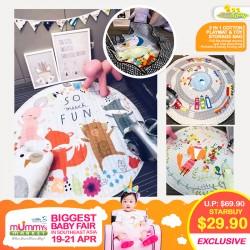 Babytoon 2-in-1 Soft Cotton Playmat + Toy Storage Bag