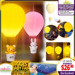 Babytoon Adorable Hot Air-Balloon Remote Control Wireless Night Light