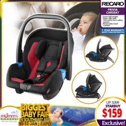 Recaro Privia Lightweight Infant Carseat + 1 Year Warranty