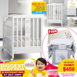 ITALBABY Baby RE Cot+ FREE Babydream Mattress + 4