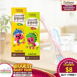 Babience Pinkfong Toothpaste Stage 1(No Fluoride) / Stage 2(Less Fluoride) 80g [1+1 Mix & Match]