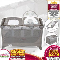 Joie Commuter Change & Bounce Travel Cot + FREE 3