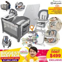 The Ingenuity Braeden Combo (Trio Elite 3-in-1 Highchair + Smart & Simple Playpen + Cheeky BonBon Playpen Mattress + Baby's 1st Taggies Gift Set)