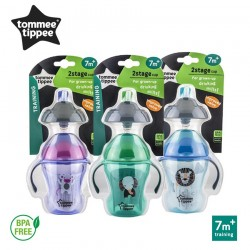 Tommee Tippee 2 Stage Easy Drink Cup - 230ml (PURPLE / BLUE / GREEN)