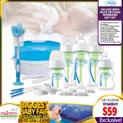 Dr Brown Deluxe WIDE NECK Options Newborn Bottle Gift Set *ADDITIONAL OFF for EARLY BIRD Special!!