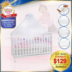(2019 AWARD WINNER) Happy Wonder+ 5-in-1 Baby Cot Co-Sleeper