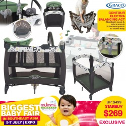 Graco Pack N Play Contour Electra Playpen (Balancing Art) + Free 2 Inch Anti Dustmite Mattress worth $49.90