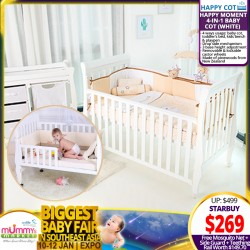 Happy Moment 4-in-1 Baby Cot + Free Gifts worth $149.70!!
