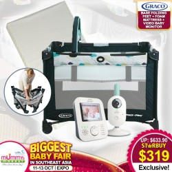 Graco Pack N Play Playpen Base Folding Feet (Stratus) + Antidustmite Mattress + Philips Avent Video Baby Monitor