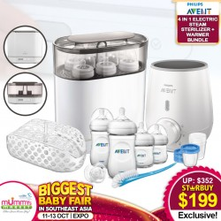 Philips Avent 4-In-1 Electric Sterilizer Newborn Bundle with Warmer + Free Newborn Starter Set